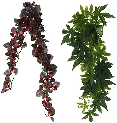 2 peças dobráveis répteis videira verde selva escalador videiras terrário ornamento de habitat
