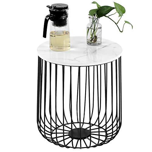 Beistelltisch Metall Couchtische aus Metallkorb Runder Nachttisch mit Ablagekorb Abnehmbarer Platte zur Aufbewahrung, geometrisches Design Sofatisch Wohnzimmertisch Metalltisch(Schwarz + Weiß)