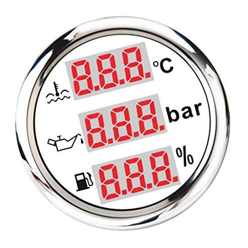 no-branded Kraftstoffanzeige Kraftstoffanzeigen Multifunktionsmeereswassertemperatur Kraftstoffstand Öldruckmesser 52mm / 2 '' CGFEUR (Color : Weiß, Size : Kostenlos)