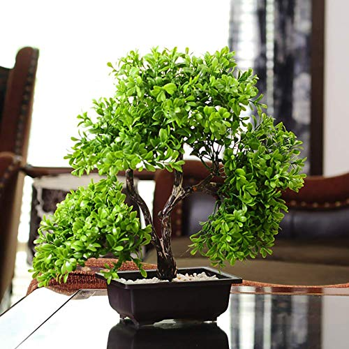LBHE Plantas Artificiales, Verde Plantas Falsas en Macetas,Bonsai de Plástico Creativo,Boj Verdes Flores Falsas Decoración Hogareña, 37cm de Alto