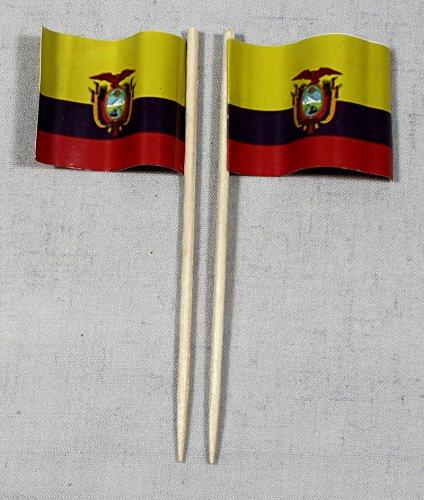 Buddel-Bini Party-Picker Flagge Ecuador Papierfähnchen in Profiqualität 50 Stück 8 cm Offsetdruck Riesenauswahl aus eigener Herstellung