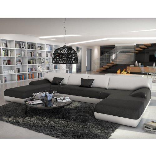 SalesFever Große Wohn-Landschaft mit Kunstleder Bezug schwarz/weiß 385x220 cm U-Form | Diva-U | Moderne Sofa-Garnitur XXL mit 2 Ottomanen | Polster-Couch für Wohnzimmer schwarz/Weiss 385cm x 220cm