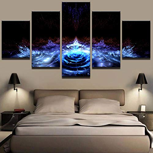 Abstract Modern Home Decor Canvas Printed 5 Panel Beautiful Flower Painting Wall Art for Living Room Modular Picture-with Frame