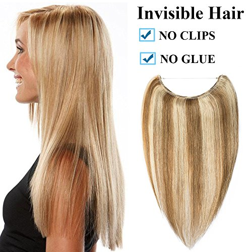 Extension Capelli Veri Filo Invisibile Fascia Unica No Clip 50cm - 100% Remy Human Hair 70g Wire Trasparente #12P613 Marrone Oro mix Biondo Chiarissimo