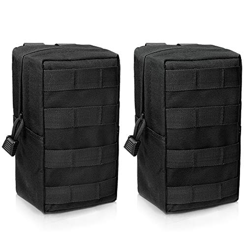 WYNEX 2 Pack Molle Pouches, Tactical EDC Utility Pouch Compact Water-Resistant, Organize Small Gear Gadget for Military Backpack Include UK Flag Patch