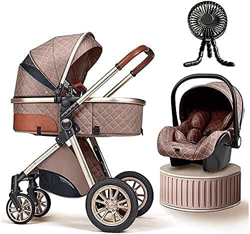 Sistemas de viaje de cochecito de bebé Tendencia para bebés 3 en 1 Alta paisaje Bebé Bebé Base de cochecito para recién nacido Cochecito ligero con ventilador Cojín de enfriamiento Sombrilla de sol pl