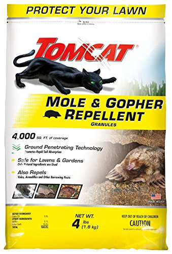 Tomcat Mole and Gopher Repellent Granules, Safe for Lawns and Gardens, 4 lbs.