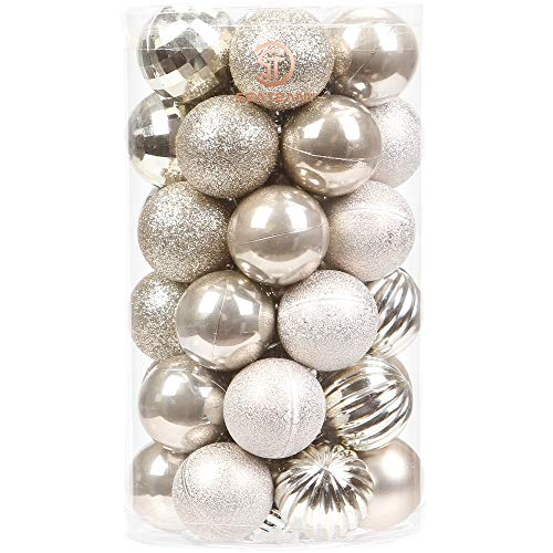 Sea Team 41-Pack Christmas Ball Ornaments with Strings, 60mm/2.36-Inch Medium Size Baubles, Shatterproof Plastic Christmas Bulbs, Hanging Decorations for Xmas Tree, Holiday, Wedding, Party, Champagne