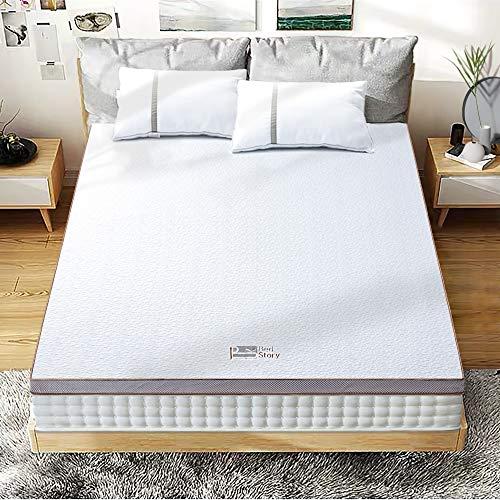 BedStory Matratzenauflage, Memory-Schaumstoff, Topper mit Gel, kühlende Technologie, waschbarer Bezug und hochdichter Premium-Schaumstoff, Blanc et Blonde, 180 x 200cm