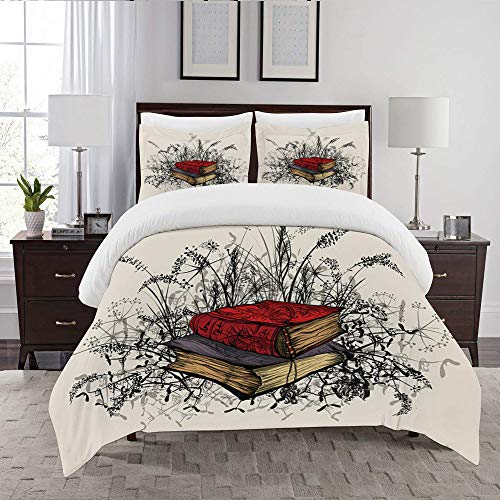 LENYOVO Duvet Cover Set-Bedding,Occult Books Surrounded By Wildflowers And Plants,Quilt Cover Bedlinen-Microfibre 140x200cm with 2 Pillowcase 50x80cm