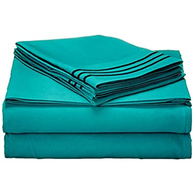 Best Seller Luxurious Bed Sheets Set on Amazon! Elegant Comfort 1500 Thread Count Wrinkle,Fade and Stain Resistant 4-Piece Bed Sheet set, Deep Pocket, HypoAllergenic - Queen Turquoise