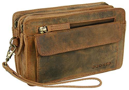 J JONES JENNIFER JONES Echt Leder Herren Handgelenktasche Herrenhandtasche Brieftasche Geldbörsentasche für Männer (Antikbraun)