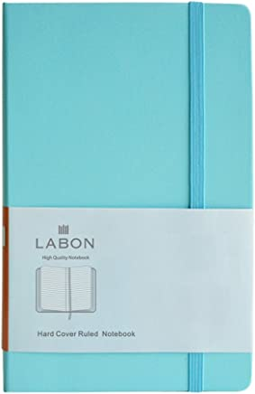 Labon's Hardcover Notebook Premium Thick Paper Journal Diary Elastic Band Expandable Paper Pocket (A5 LightBlue, Ruled)