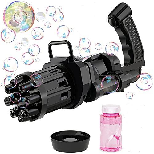 SXD 8 AgujerosMaquina Burbujas Niños, Máquina de Burbujas Automática, Maquina Pompas Jabon de para Niños Juego de Baño Fiestas Bodas (Negro)