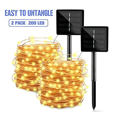 Solar String Lights Outdoor,2-Pack Each 72FT 200LED Upgraded Super Bright Solar Lights,Waterproof Copper Wire 8 Modes Fairy Lights for Garden Patio Yard Wedding Party Homes Decorations(Warm White)