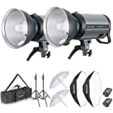 Neewer 800W Studio Strobe Flash Photography Lighting Kit:(2) 400W Monolight with 2.4G Wireless Trigger,(2) Lampshade,(2) Softbox,(2) Umbrella,(2) Light Stand,(1) Bag for Shooting Bowens Mount(Q-400N)