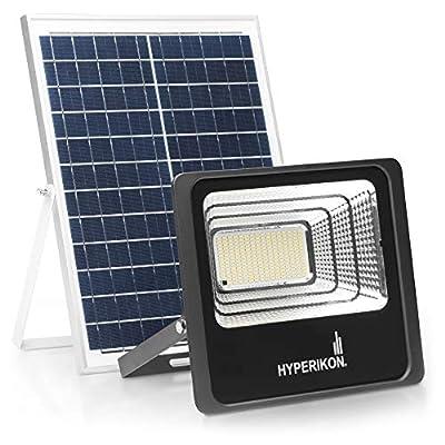 Hyperikon Solar Flood Light LED, Outdoor Security Lighting Fixture, 10000 lumens, Remote Controlled, Light Sensor, 100 Watts