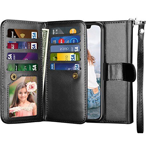 Njjex Wallet Case for iPhone X, for iPhone Xs Case, PU Leather [9 Card Slots] Credit Folio Flip Cover [Detachable] [Kickstand] Magnetic Phone Case & Wrist Lanyard for iPhone X 2017/ XS 2018 [Black]