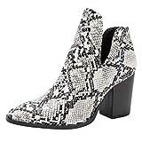Brillanto Botines Mujer Serpiente Botas Mujer Invierno Tacon Ancho Zapatos de Vistir Tacon Alto 8cm Talla 36-43