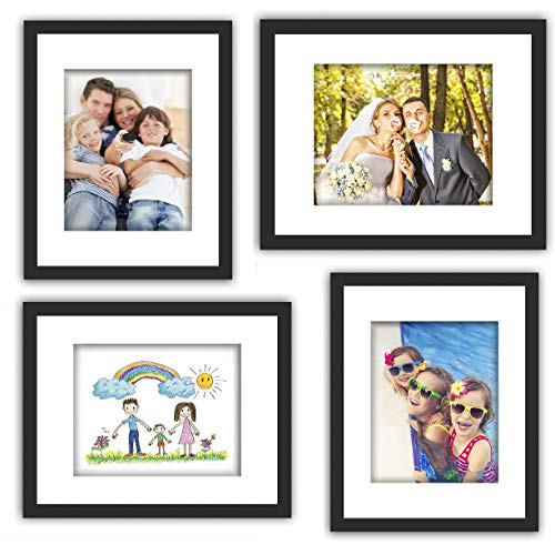 XUFLY 4Pcs 11x14 Tempered Glass Wood Frame Black, with 3X Mat Fit for 8x10 5x7 4x6 inch Family Photo Kid Picture, Desktop On Wall Vertical Horizontal Support Office Decoration Landscape Sea Sky Cave Dining Features Frames Kitchen Tabletop Wall