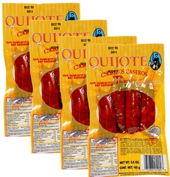 Chorizos Quijote. 4 chorizos per pack. 5.5 oz 4 packs Total 16 chorizos