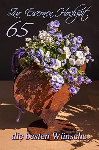 Yabue Eisernen Hochzeit 65 Jahre Foto-Karte Grußkarte Blumen 16x11cm