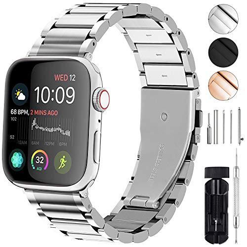 GerbGorb Cinturino Compatibile per Apple Watch 38 mm, Cinturini in Acciaio Inossidabile per iWatch Serie 5/4/3/2/1, Watch Band per iWatch, 38mm Argento + Hardware Argento
