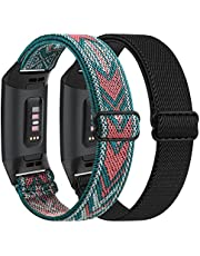 2 Pack Adjustable Elastic Bands Compatible for for Fitbit Charge 4 / Fitbit Charge 3 / Fitbit Charge 3 SE, Soft Stretchy Nylon Wristband Strap Replacement for Women Men (02, 2 Pack (Black+Leopard))