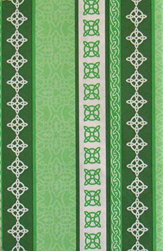 St. Patrick's Day Celtic Knots Border Stripes Vinyl Flannel Back Tablecloth (52' x 70' Oblong)