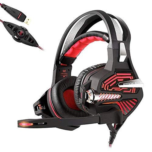GANE Auriculares para Juegos - Auriculares con vibración de Sonido estéreo Envolvente USB 7.1 con micrófono con cancelación Activa de Ruido Graves Profundos para computadora PC, Azul/Rojo (Azul)