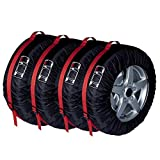 Funda Rueda Repuesto 4pcs cubierta de repuesto neumático de la caja de poliéster de invierno y verano Neumáticos de coches Bolsas de almacenamiento de neumático auto Accesorios de Vehículos Rueda prot