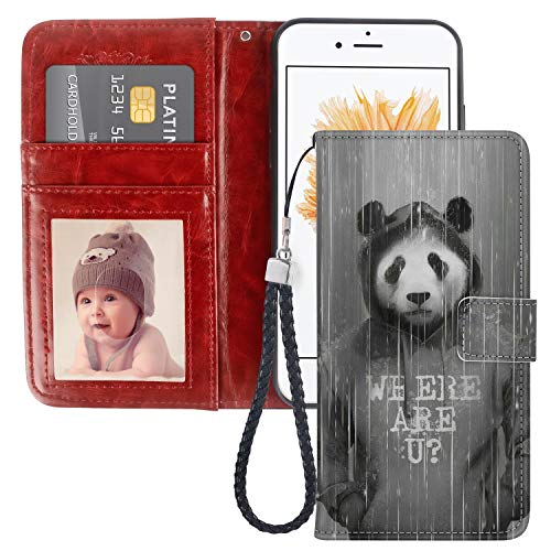 iPhone 5/5S/SE Wallet Case Hoodie Panda PU Leather Card Holder Phone Cover with Kickstand Wrist Strap for Hoodie Panda iPhone 5/5S/SE Case
