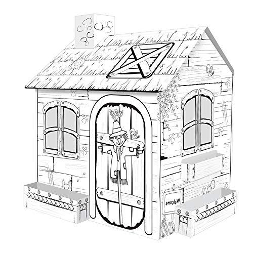 TikTakToo Spielhaus aus Pappe Vogelscheuche Pappspielhaus zum Bemalen und Dekorieren inklusive Stifte Haus Spielzeug Karton