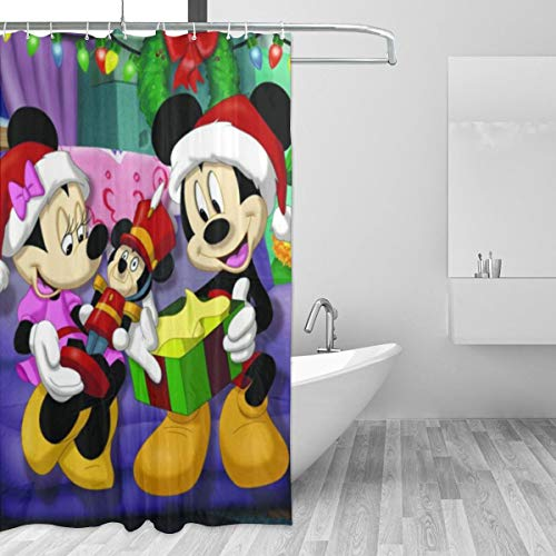 Shower Curtain Mickey Mouse Christmas Bath Shower Curtain 3D Printing Waterproof Resistant Funny Fabric Shower Curtains 12 Hooks 60X72 Inch