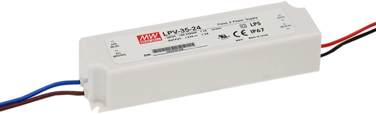 LED Driver 36W 24V 1.5A LPV-35-24 Meanwell AC-DC SMPS LPV-35 Series MEAN WELL C.V Power Supply