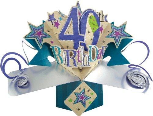 Suki Gifts POP089 Pop Up Grusskarte, 40. Geburtstag, mehrfarbig