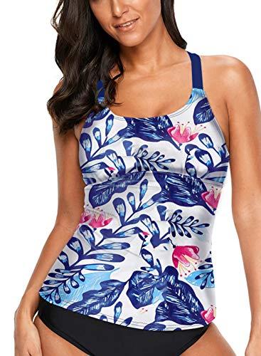 Aleumdr Womens Striped Printed Strappy Racerback Tankini Swim Top No Bottom S XXXL blue Large