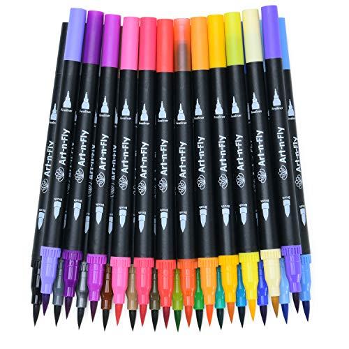 25 Dual Brush Pen Pennarelli Punta Fine per Disegno Pennarelli Doppia Punta a Pennello Grossa Fineliner
