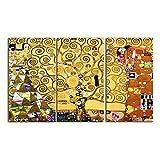 LegendArte Stampa su Tela - L'Albero della Vita (3 Pannelli) - Gustav Klimt cm. 150x90 (3 ...