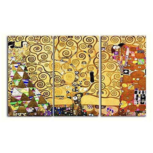 Legendarte Gustav Klimt Der Lebensbaum (3 Tafeln) Kunstdruck auf Leinwand, cm. 150x90-3-TLG.