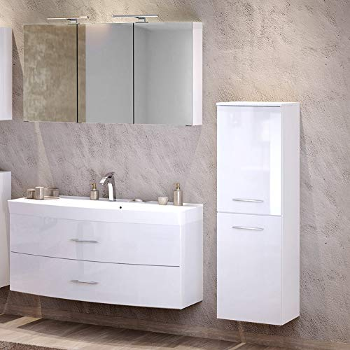 Lomadox Badezimmer Waschplatz Set in Hochglanz weiß, 120cm Waschtisch mit Unterschrank inkl. Waschbecken ● 3D Spiegelschrank mit 2 LED-Leuchten & Steckdose, Midischrank mit 2 Türen, Made in Germany