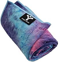 Yoga Mate Soft, Sweat Absorbent, Non-Slip Bikram Yoga Mat Size Towel, Blue & Pink Tie Dye   Blue Trim