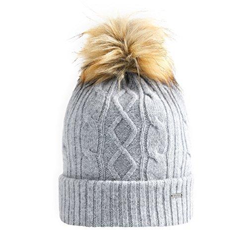 Vulpés Beanie / Mütze Damen - Intelligente beheizbare Mütze mit Bommel für warme Ohren (Lichtgrau)