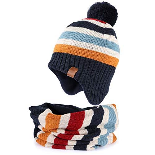 Tacobear Niños Sombrero de Orejeras de Invierno Sombreros de Pompon Bufanda Círculo de Punto Cuello Redondo (Sombrero de Rayas + Bufanda de Rayas, 1-2años)