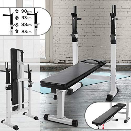 Physionics Banc de Musculation avec Support de Barres - Pliable & Réglable, Charge Totale Max. 200kg,...
