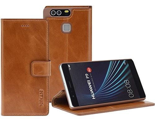 Huawei P9 - Suncase Book-Style (Slim-Fit) Ledertasche Leder Tasche Handytasche Schutzhülle Hülle Hülle (mit Standfunktion & Kartenfach) cognac