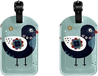 Antique Bird And FlowerLeather Luggage Tags Suitcase Labels Bag Travel ID Bag Tag, 1 Pcs
