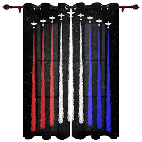 Independence Day Window Treatments, 2 Panels Light Filtering Drapes, Window Curtain for Living Room Bedroom Dormitory Office Decor 40x63 inch, Fighter Spray Ribbon