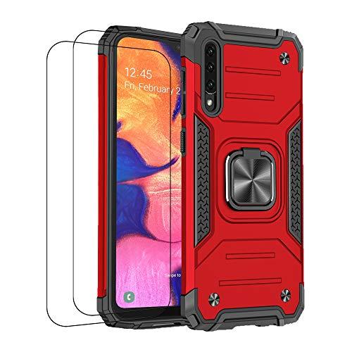 Funda compatible con Samsung A50 Case Samsung A50, funda con cristal templado, antigolpes, anticaídas ultrafina, protección (rojo)