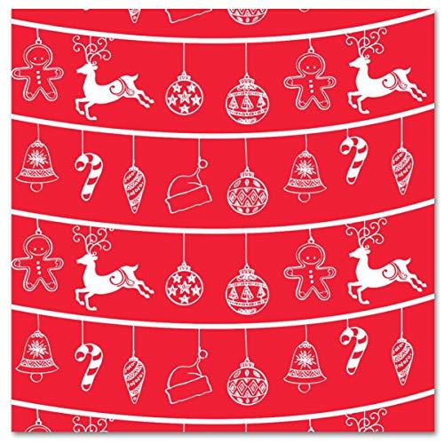LA PAJARITA 40 Servilletas de Navidad de papel Decoradas Punta Punta 40x40 cm RENNO (Rojo)